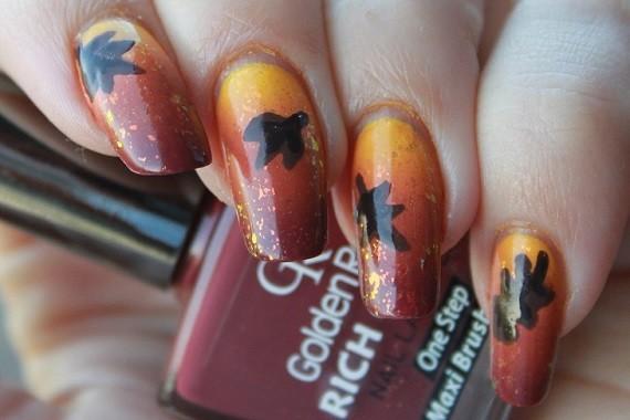 Nail Art Autumn Leaf 01 - Nagelfabriek Blog